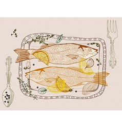 Background with fish dish vector image