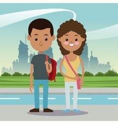 Boy and girl students multiethnic urban background vector