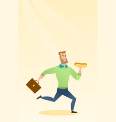 Business man eating hot dog vector