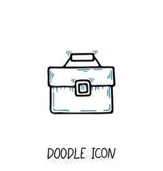 Business suitcase icon in a doodle style vector image