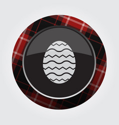 Button red black tartan - easter egg with waves vector