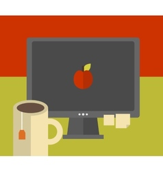Computer screen on the table vector image vector image