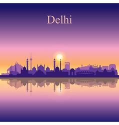 Delhi silhouette on sunset background vector