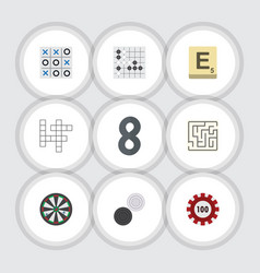 Flat icon games set of poker gomoku mahjong and vector