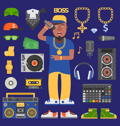 Hip hop raper man musician icons with vector