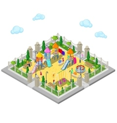 Isometric children playground in the park vector