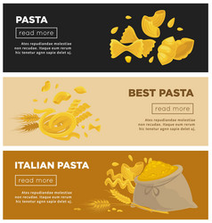 Italian pasta web banners template for vector