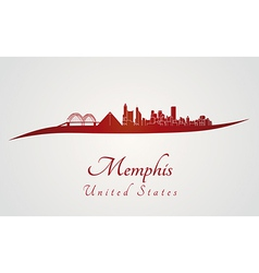 Memphis skyline in red vector