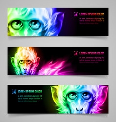 Monkey fire banners vector image
