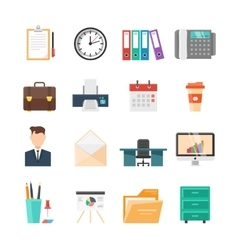 Office Flat Icon Set vector image vector image