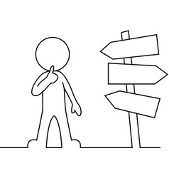 People is standing in front of a road sign thinkin vector image