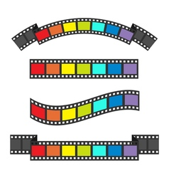 Rainbow flag film strip frame set different shape vector