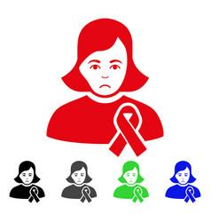 Sad girl with sympathy ribbon icon vector