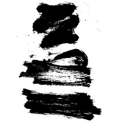 set of black ink grunge brush stroke vector image