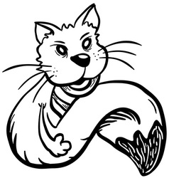 Simple black and white cat vector