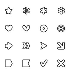 Simple common contour style icon set vector