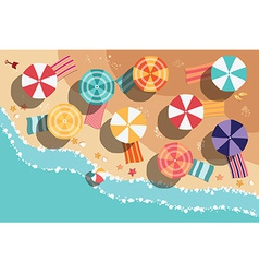 Summer beach in flat design sea side and beach vector image vector image