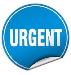 Urgent round blue sticker isolated on white vector
