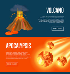Volcanic eruption and meteorite apocalypse banners vector