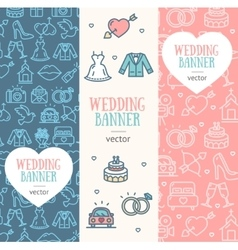 Wedding banner flyer vertical set vector