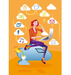 Cloud Computing Woman With Laptop vector image