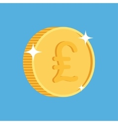 Gold coin icon with british pound symbol vector