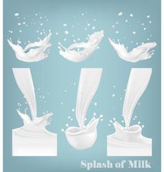 Big set of milk splashes and drops vector