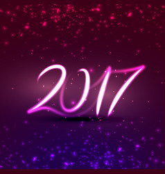 Neon style 2017 text effect for new year holidays vector