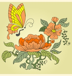 Peony and butterfly color vector
