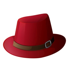 A red hat with a brown belt vector