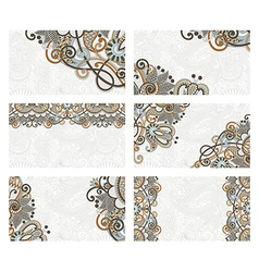 Hand draw ornate floral business card set vector