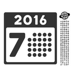 2016 week calendar icon with professional bonus vector