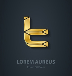 Letter t 3d elegant gold font template for company vector