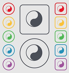 Yin yang icon sign symbol on the round and square vector