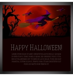 Big halloween banner with of witches vector