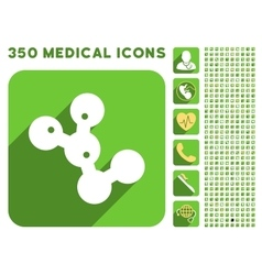 Microbes colony icon and medical longshadow icon vector