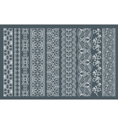 Vertical seamless lace borders vector