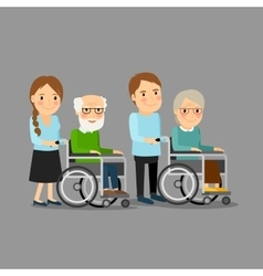 Social worker strolling wheelchair vector