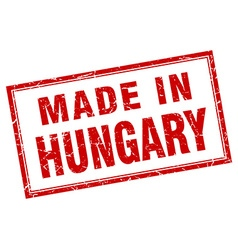 Hungary red square grunge made in stamp vector