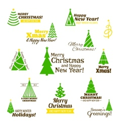 Christmas tree stamps set vector image vector image