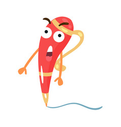 cute red surprised cartoon humanized pen character vector image