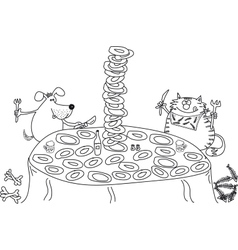 Dog and cat sit at the table eat many plates vector