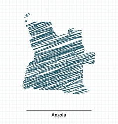 Doodle sketch of angola map vector