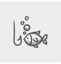 Fish with hook sketch icon vector image vector image