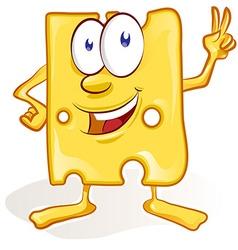 fun cheese cartoon on white background fun cheese vector image vector image