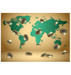 gold background with world map and bitcoins vector image vector image
