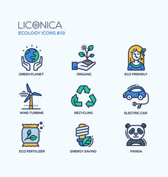 Green ecology - coloured modern single line icons vector