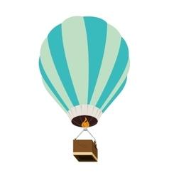 Hot balloon basket fire blue icon vector