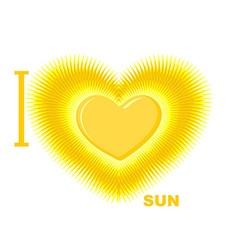 I love sun symbol of heart of the sun fo vector