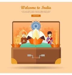 India travel banner indian landmarks in suitcase vector